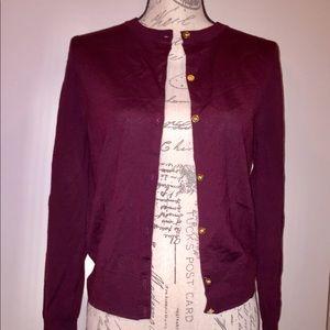 Jcrew wool cardigan sweater in burgundy
